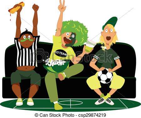 Clipart Vector of Friends Watching Game.