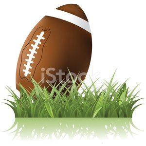 Football in the grass Clipart Image.