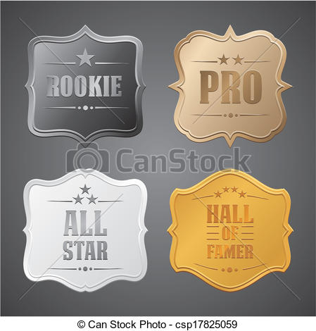 Clipart Vector of rookie, pro, all star, hall of fame.