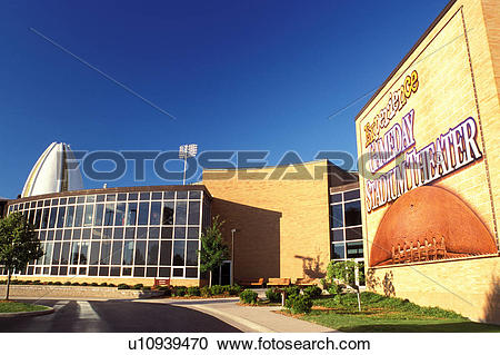 Stock Photography of football, hall of fame, theater, Canton, OH.