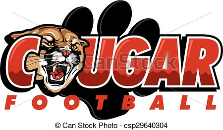 Vector Clipart of cougar football design with cougar head and.