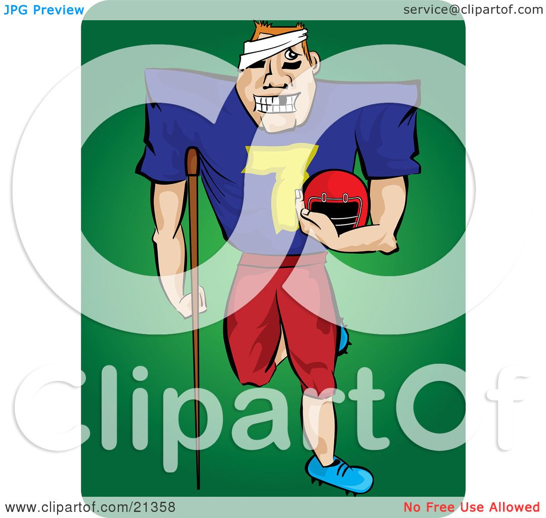 Clipart Illustration of a Grinning Injured Football Player With.