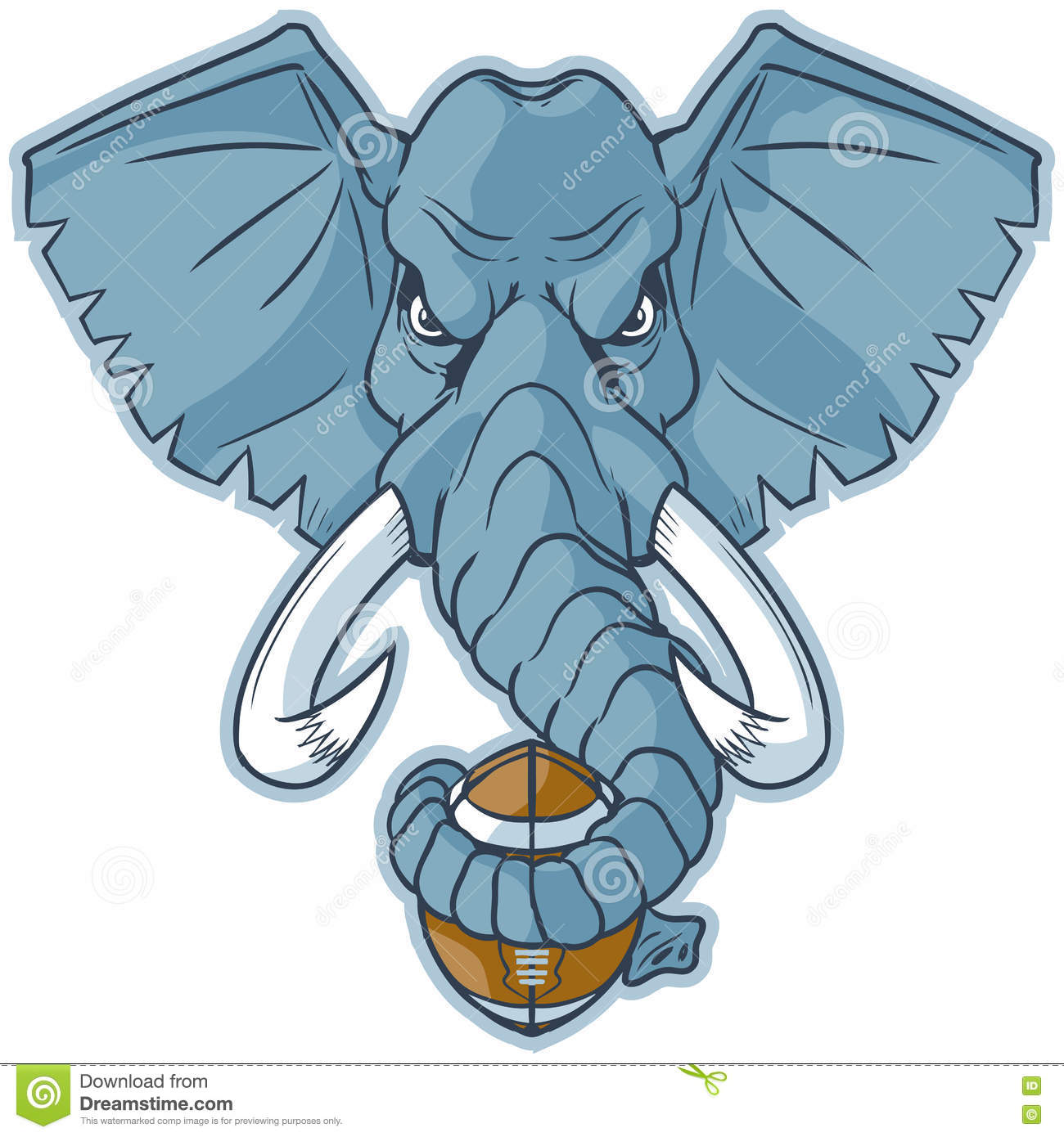 Elephant Mascot Head Holding Football Vector Cartoon Clip Art.