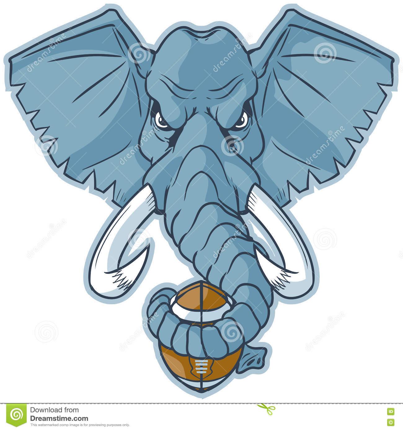 Elephant Mascot Head Holding Football Vector Cartoon Clip Art.