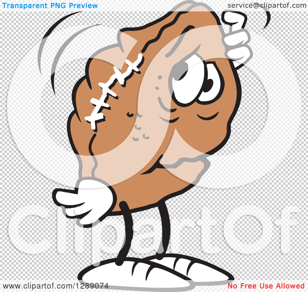 Sports Clipart of a Worried Deflated Football Scratching His Head.