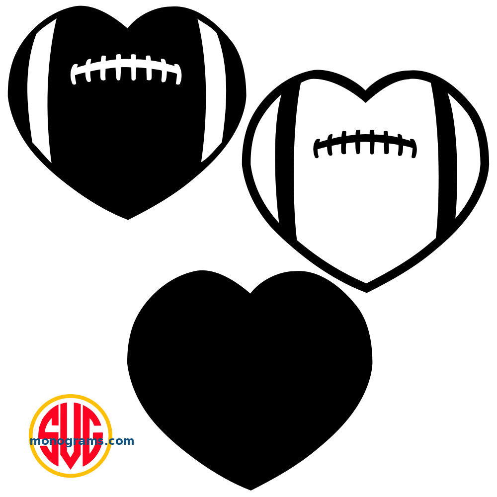 Heart Football Monogram Frames.