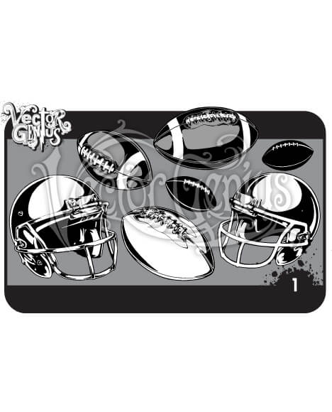 Football and Helmet Hand Drawn Vector Pack.