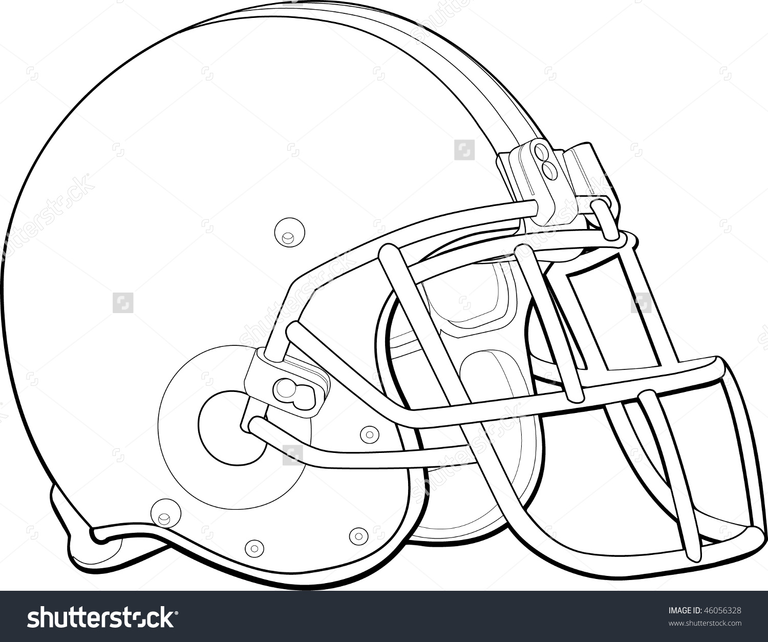 Helmet Football Team Outline Stock Vector 46056328.