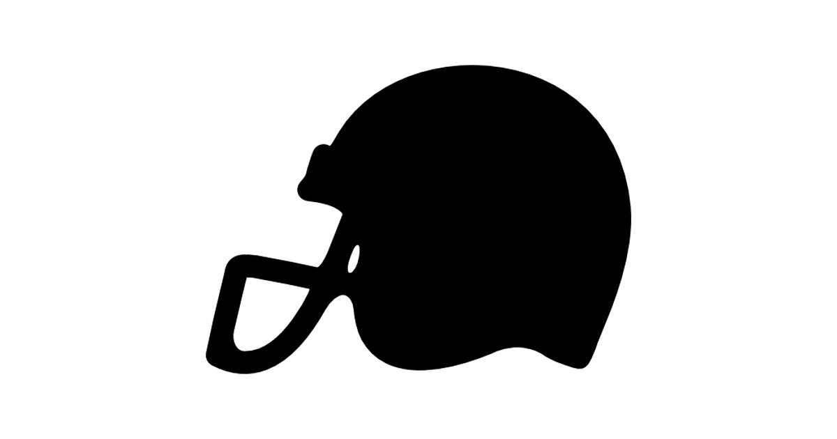 American football helmet side view black silhouette.