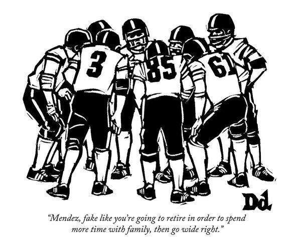 A Football Team Huddles Poster.