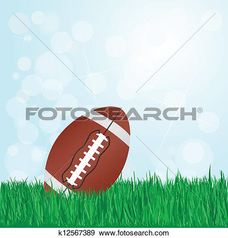 Clip Art of football on grass k12567389.