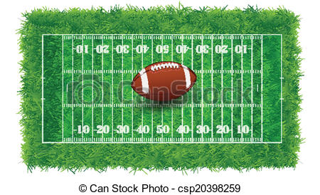 Vector Clip Art of Textured Grass American Football Field.