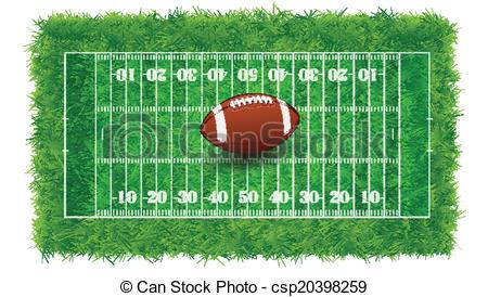 Vector Clip Art of Textured Grass American Football Field.