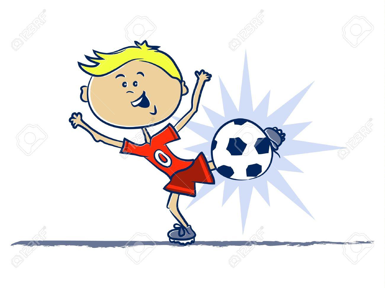A Boy Kicking A Soccer Ball Cartoon Royalty Free Cliparts, Vectors.