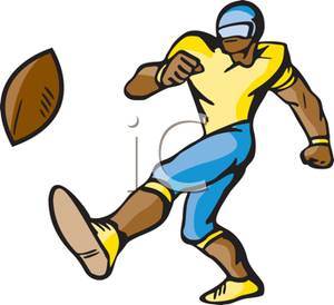 Clipart Football Player Kicking.