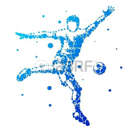 Football Kiking In Motion Clipart.