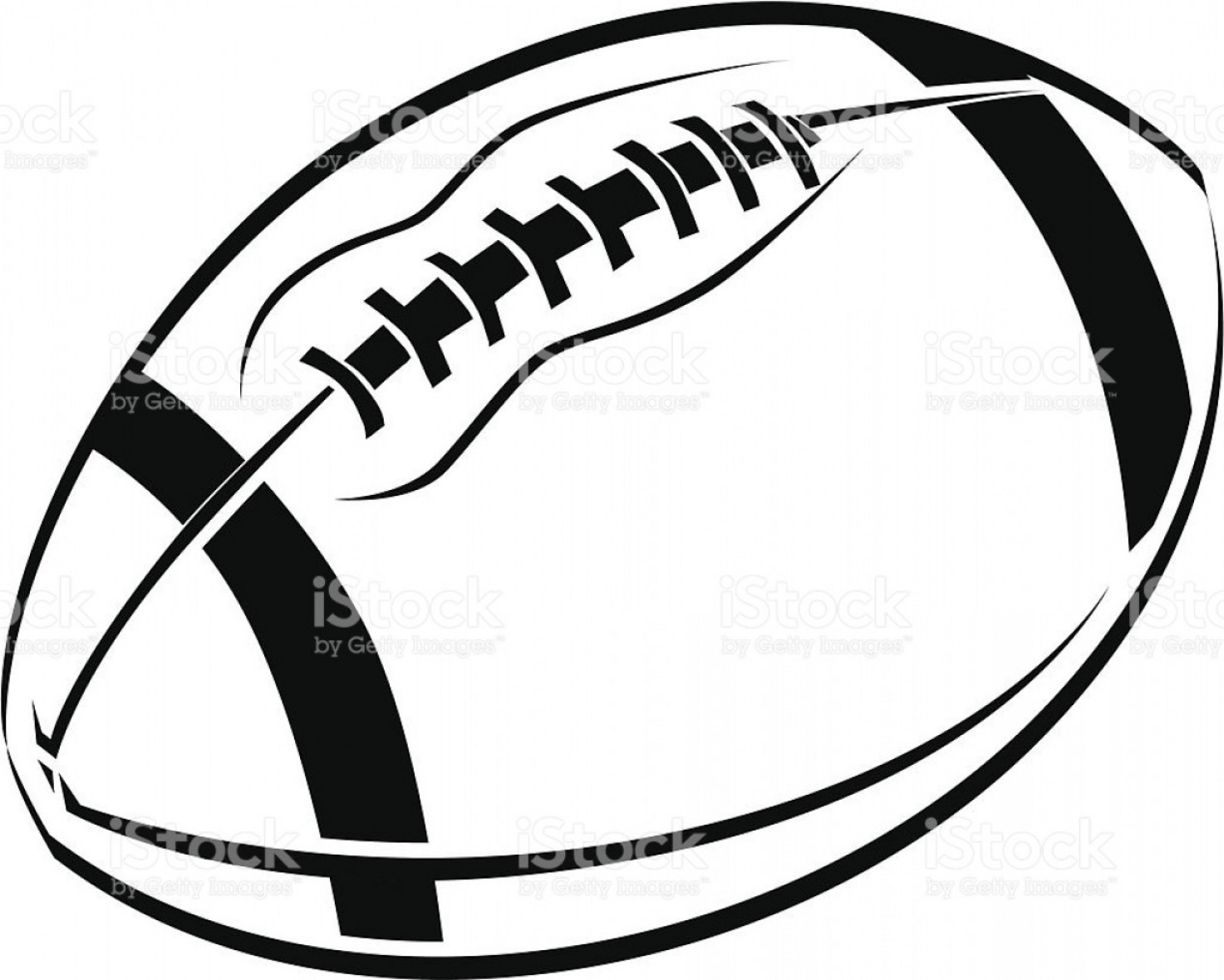 Black And White Line Art Drawing Of An American Football.