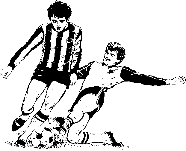 Football match clipart black and white.