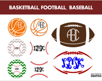 Football Monogram Clipart.