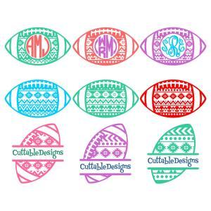 Monogram Football Helmet & Ball cut file.