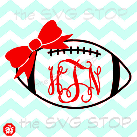Football Monogram with Bow SVG File,Football SVG File.