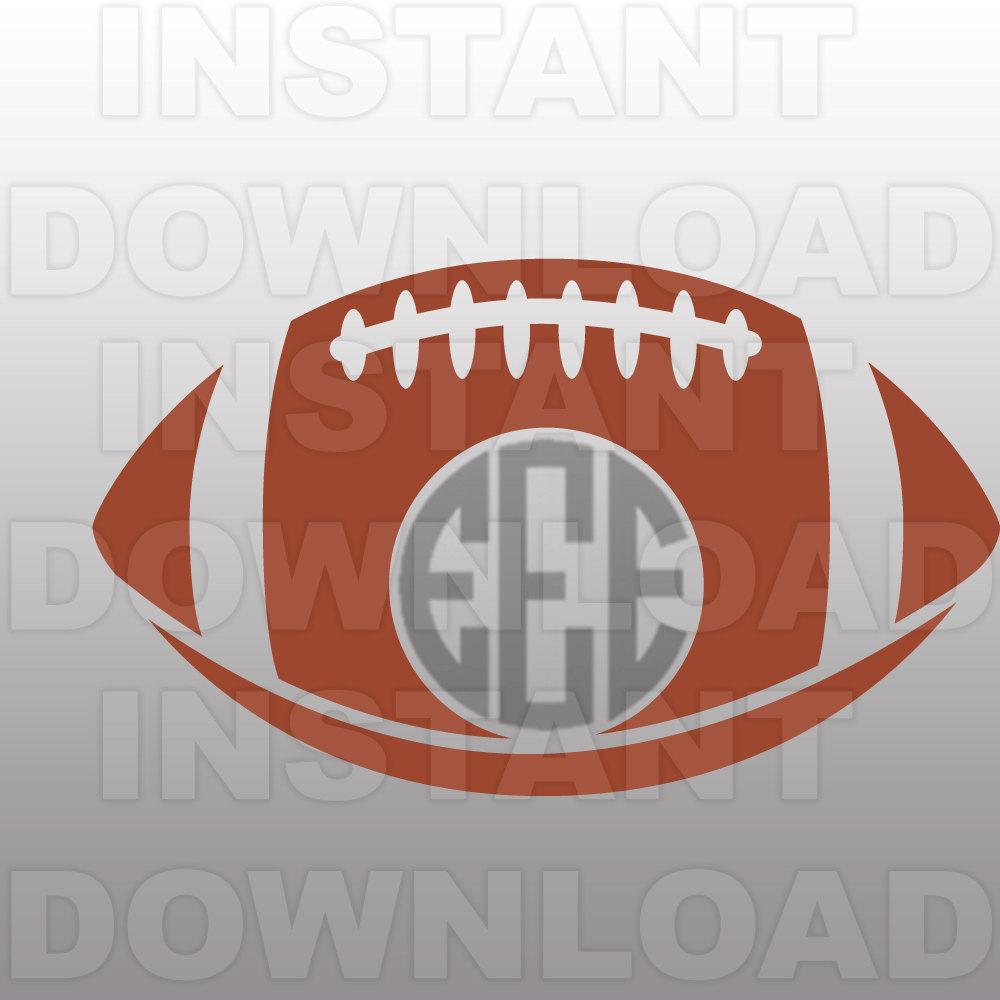 Football Monogram Frame SVG File Cutting Template.