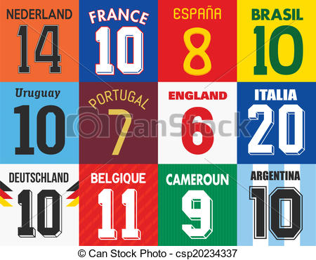 Vectors of Football jersey numbers.