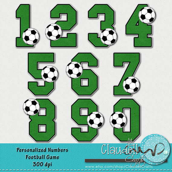 Soccer Game Clipart Numbers 300 DPI.