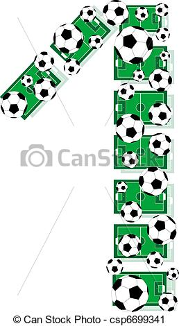 Vector Clip Art of Number 1 One from balls and soccer fields.