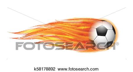 Flying football or soccer ball on fire. Clipart.