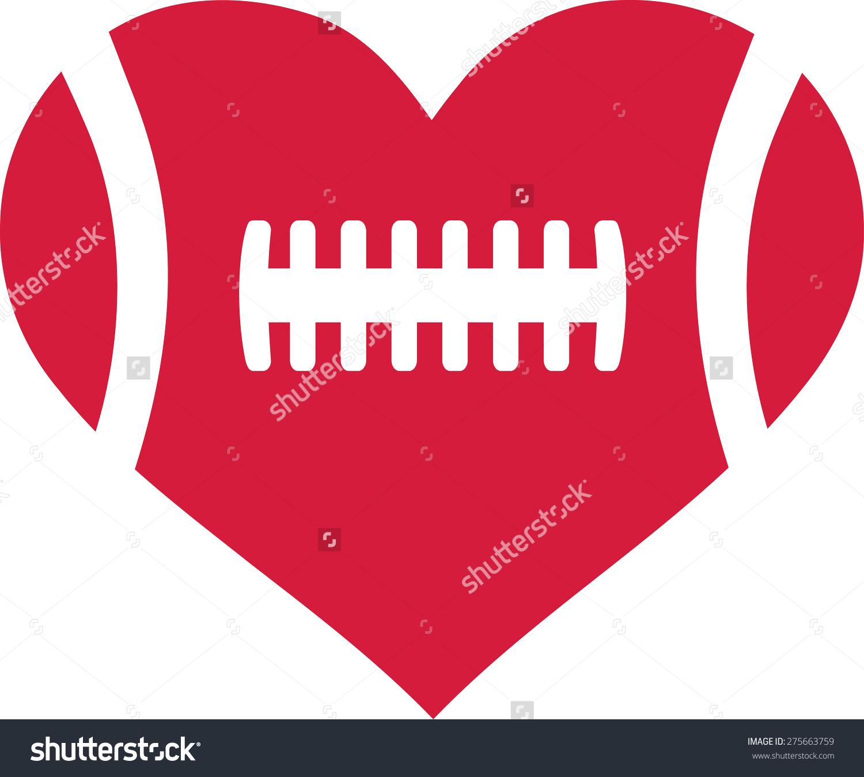 american football heart - Football Outline