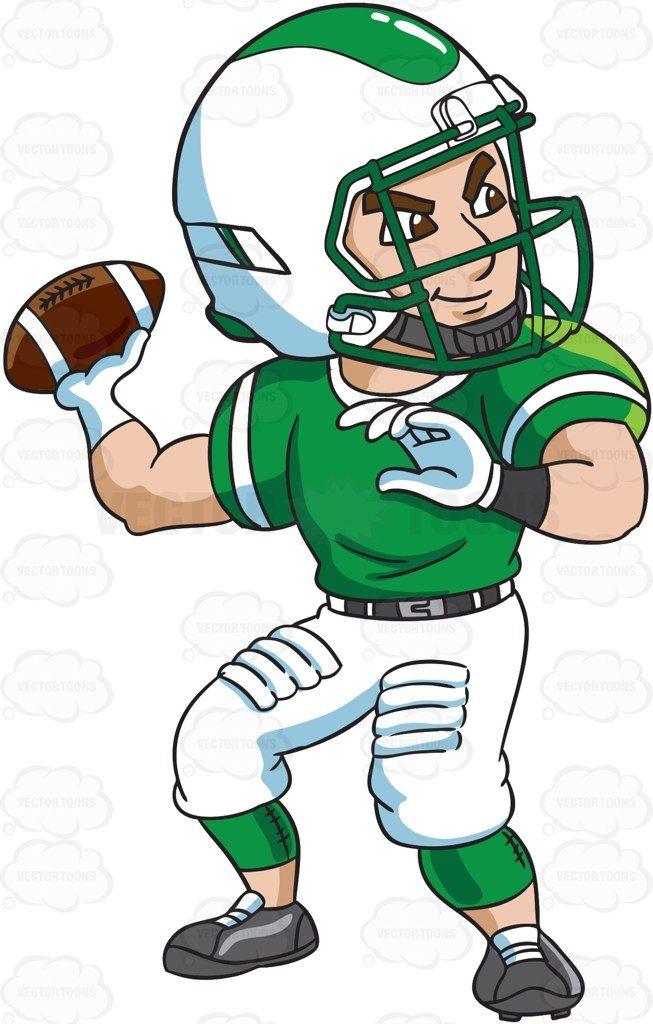 A football quarterback passing a ball #cartoon #clipart.