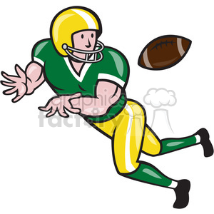 american football wide receiver catch ball clipart. Royalty.