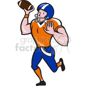 american football quarterback pass frnt clipart. Royalty.