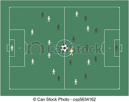 Vector Illustration of football pitch with teams vector.