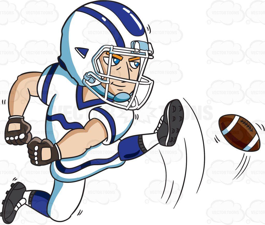 A football kicker starting the play #cartoon #clipart.