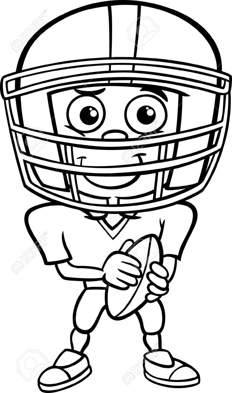 Black and White Cartoon Illustration of Funny Boy American Football...