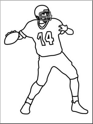 Clip Art: Football Quarterback B&W I abcteach.com.