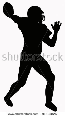 Silhouette American Football Quarterback Aiming Throw Stock Vector.