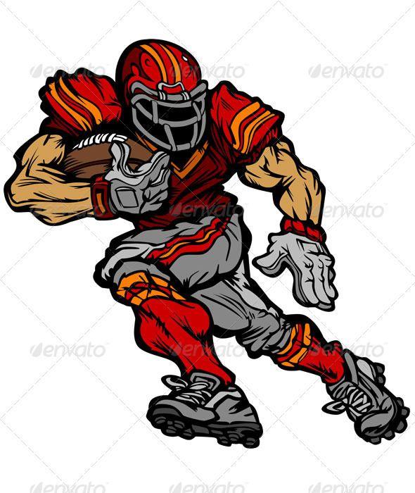 Football Player Runningback Vector Cartoon.