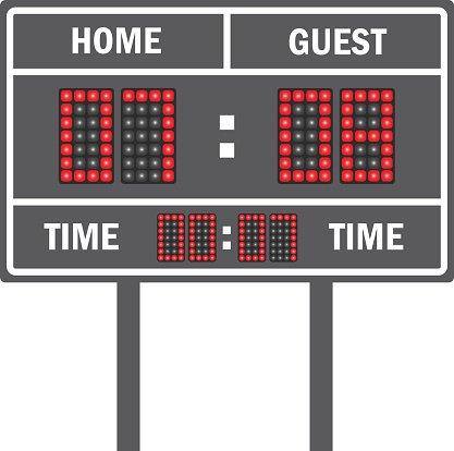 American football vector scoreboard Clipart Image.