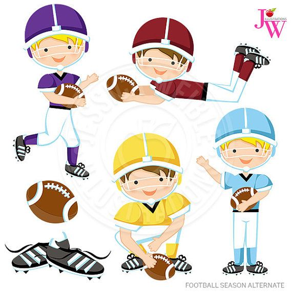 Football Season Alternate Cute Digital Clipart, Boys.