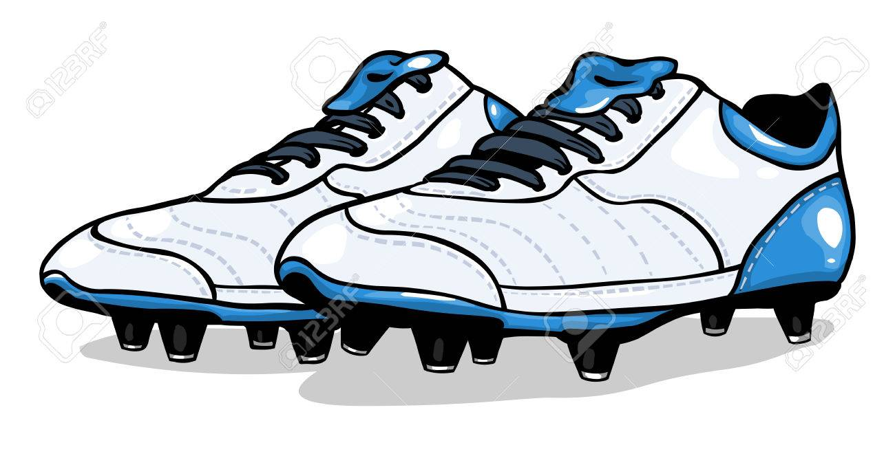vector white football boots on White Background.
