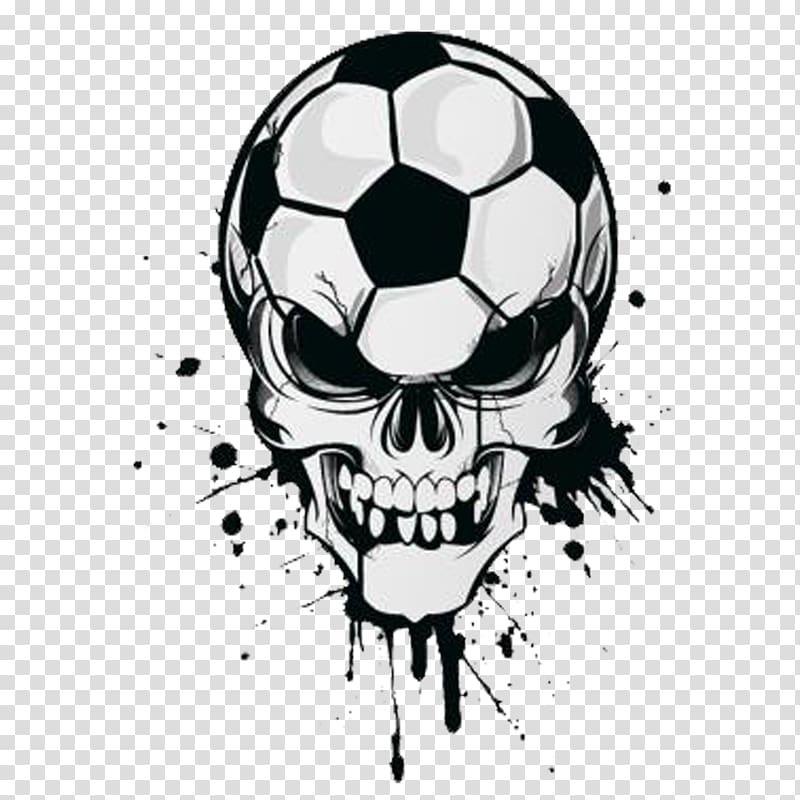 Wall decal Sticker Football, skull transparent background.