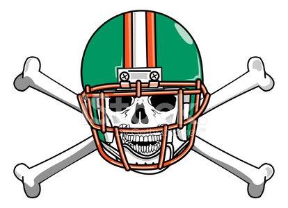 Skull and Crossbones Football Emblem Clipart Image.