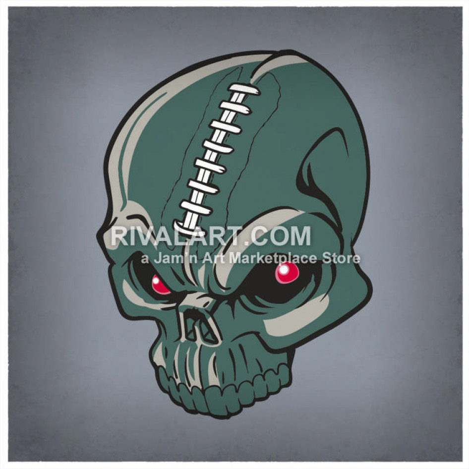 Football Skull In Color Graphic Laces.