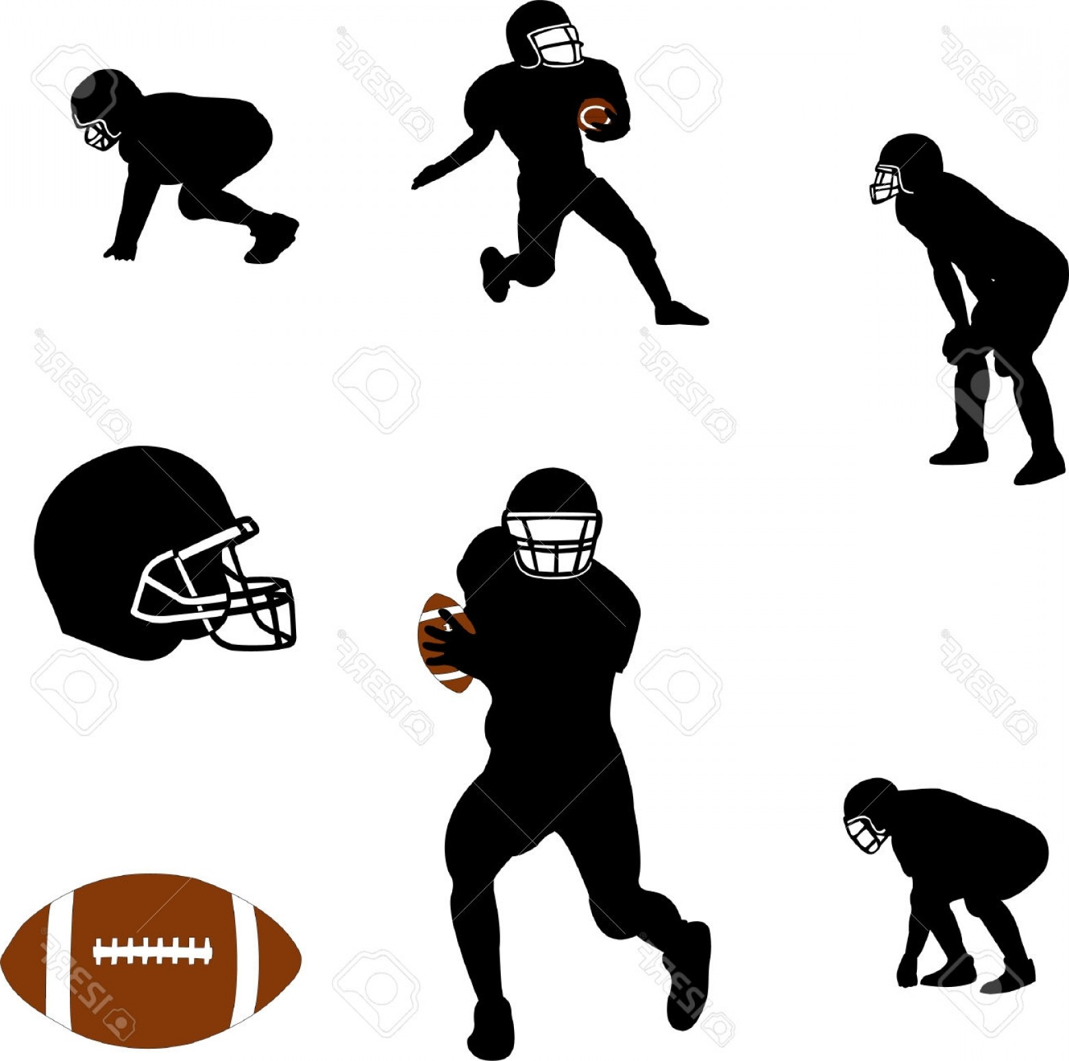 Excellent American Football Silhouette Vector Draw.