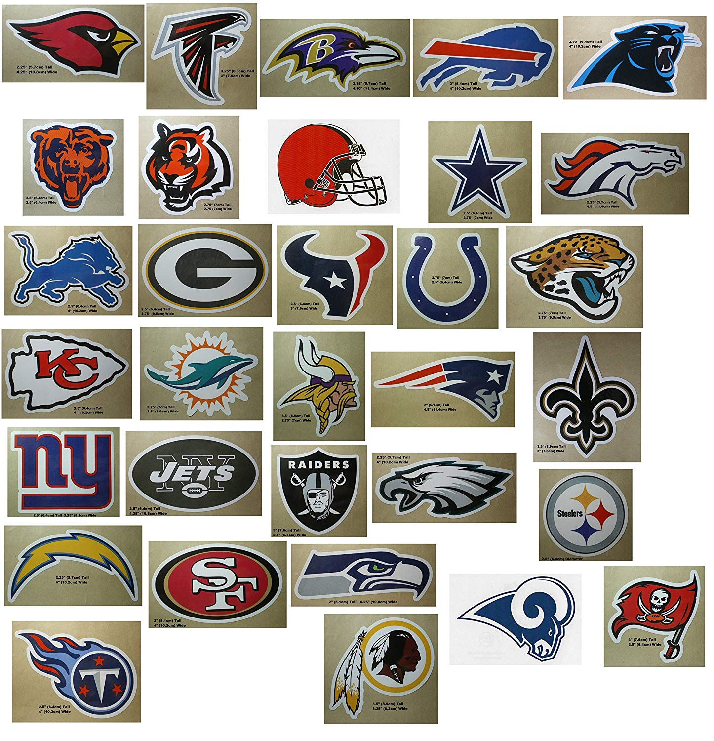 NFL Team Logo Stickers Set of 50 Football Stickers (All 32 Team Logos and  more) 4.25\