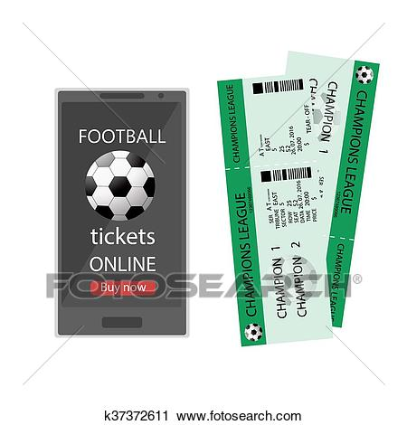 Football ticket online. Booking football ticket online via internet smart  phone infographic. Buying or booking soccer tickets. Football ticket card.