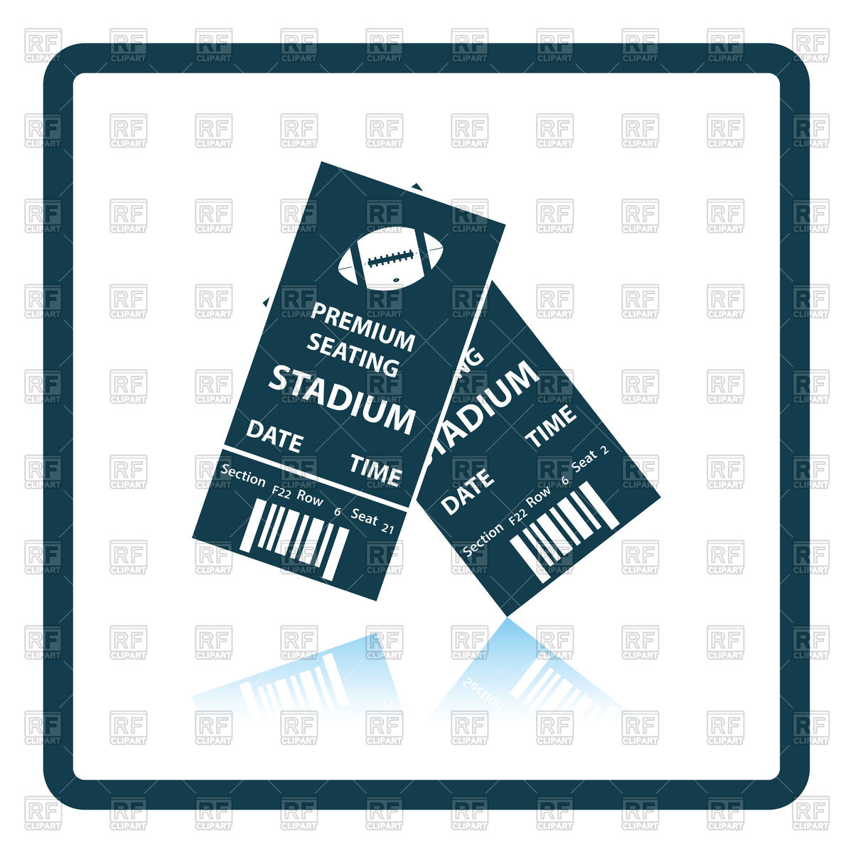 Shadow reflection design of american football tickets Stock Vector Image.